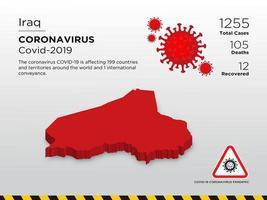 mapa do país afetado pelo Iraque de disseminação de coronavírus vetor