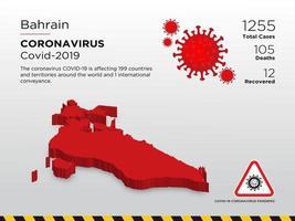 mapa do país afetado pelo Bahrein de disseminação de coronavírus vetor