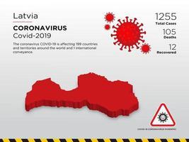 mapa do país afetado pela letônia com doença de coronavírus vetor