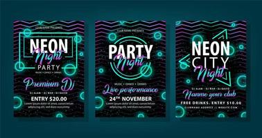 folheto de estilo dinâmico de néon definido para festa à noite vetor