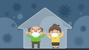 distanciamento social de casal de idosos em estilo cartoon