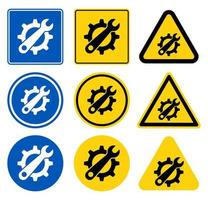 conjunto de sinal de símbolo de ferramenta de serviço vetor
