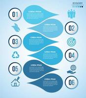 infográfico de design de água azul com 6 etapas vetor