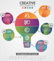 cronograma de infográfico de lâmpadas com 5 etapas vetor