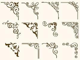 conjunto de quadros de canto vintage filigrana marrom vetor