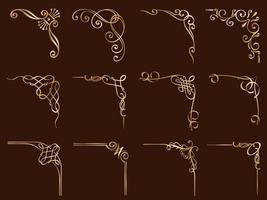 conjunto de quadros decorativos de canto de ouro vetor