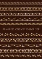 conjunto de fronteiras vintage douradas sem emenda vetor