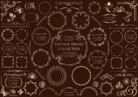 conjunto de moldura circular dourada ornamental vetor