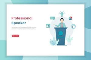 modelo de página de aterrissagem de alto-falante profissional vetor