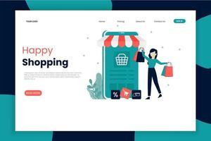 página de destino de compras on-line móvel com mulher feliz