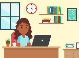 mulher afro-americana de desenhos animados, trabalhando em casa