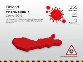 mapa do país afetado pela Finlândia de disseminação de coronavírus vetor