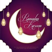 Ramadan Kareem banner de lua e lanternas brancas