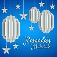 design de lanternas e estrelas de papel ramadan kareem
