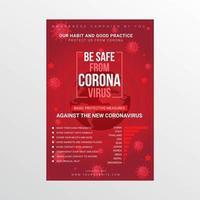 cartaz de segurança de coronavírus com elementos do globo e vírus vetor