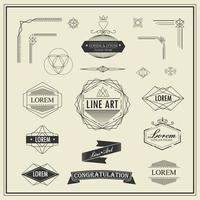 conjunto de elementos de arte retrô vintage linha