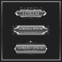 conjunto de logotipo ou emblema caligráfico prateado vetor
