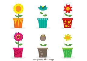 Flores do vetor em um pote