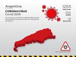 mapa do país afetado pela argentina de coronavírus vetor