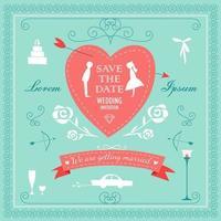 conjunto de elementos decorativos para casamento vetor