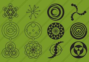 Ícones de círculos de colheita vetor
