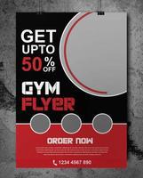 panfleto de ginásio vermelho e preto com molduras circulares vetor