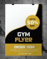 folheto de ginásio em preto e dourado com design ondulado vetor