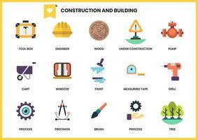 conjunto de 15 caixa de ferramentas e outros ícones para construção vetor