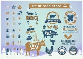 conjunto de emblema vintage de animais e churrasco