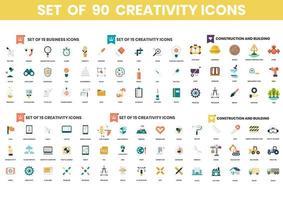 conjunto de 90 ícones de criatividade e construção vetor