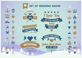 conjunto de distintivo de casamento do vintage vetor