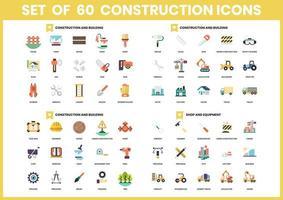 conjunto de 60 ícones de construção e equipamento vetor
