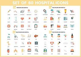 conjunto de 60 ícones de cuidados de saúde e hospital vetor