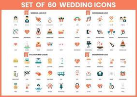 conjunto de 60 ícones de casamento, amor e férias
