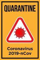 cartaz de quarentena para coronavírus vetor