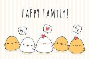 doodle de desenhos animados de família discurso bolha de frango vetor