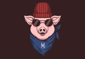 porco, usando, bandana, ilustração vetor