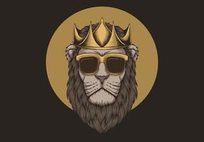 ilustração de coroa vestindo leão vetor