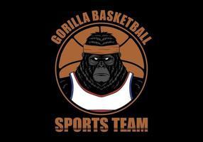 ilustração de gorila de jogador de basquete vetor