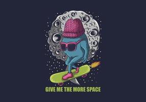 ilustração de skatista de espaço monstro vetor