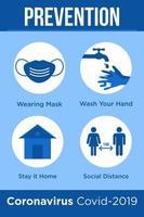 cartaz azul para prevenir o coronavírus vetor