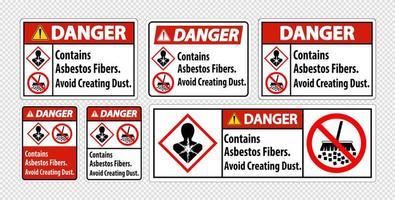 conjunto de sinal de aviso de amianto vetor