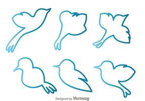 Vetores de esboço de pássaro azul