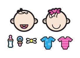 Dois Cute Twin Babies Illustration vetor