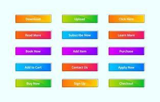 conjunto de botão web moderno colorido vetor