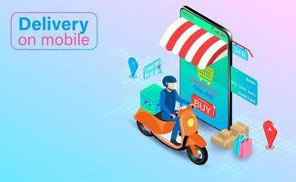 loja de celular com motorista de entrega vetor