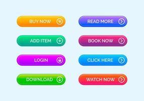 conjunto de botões de interface web arredondada moderna vetor