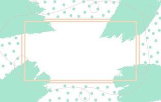 pinceladas de hortelã e pontos ao redor do quadro de linha rosa vetor