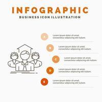 design de infográfico de trabalho em equipe vermelho laranja vetor