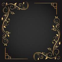 moldura quadrada de canto ornamental de ouro florescer vetor